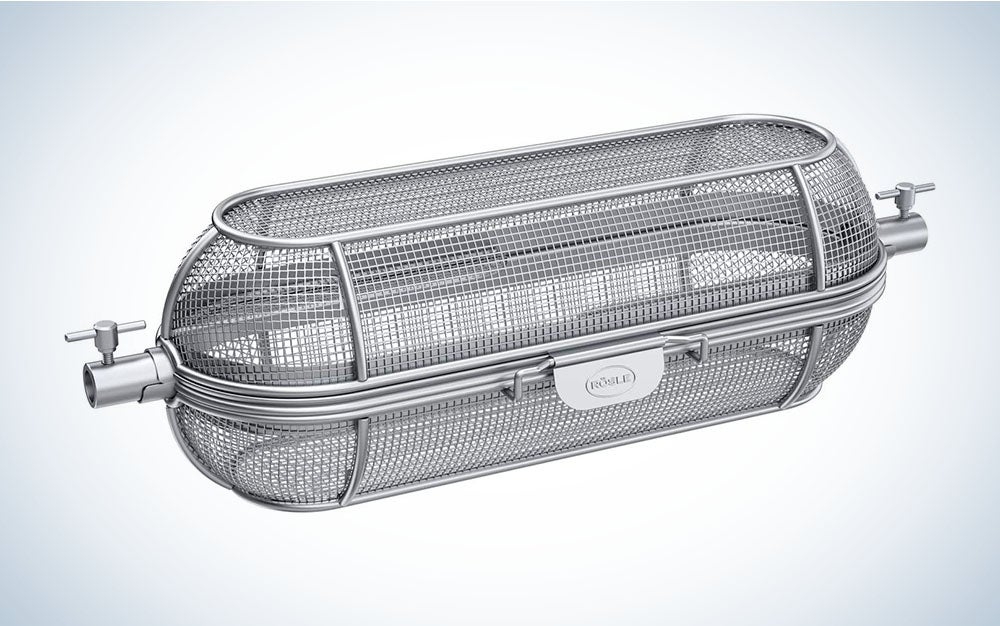 The Rösle BBQ Stainless-Steel Revolving Skewer Grill Basket is the best rotisserie-style grill basket.