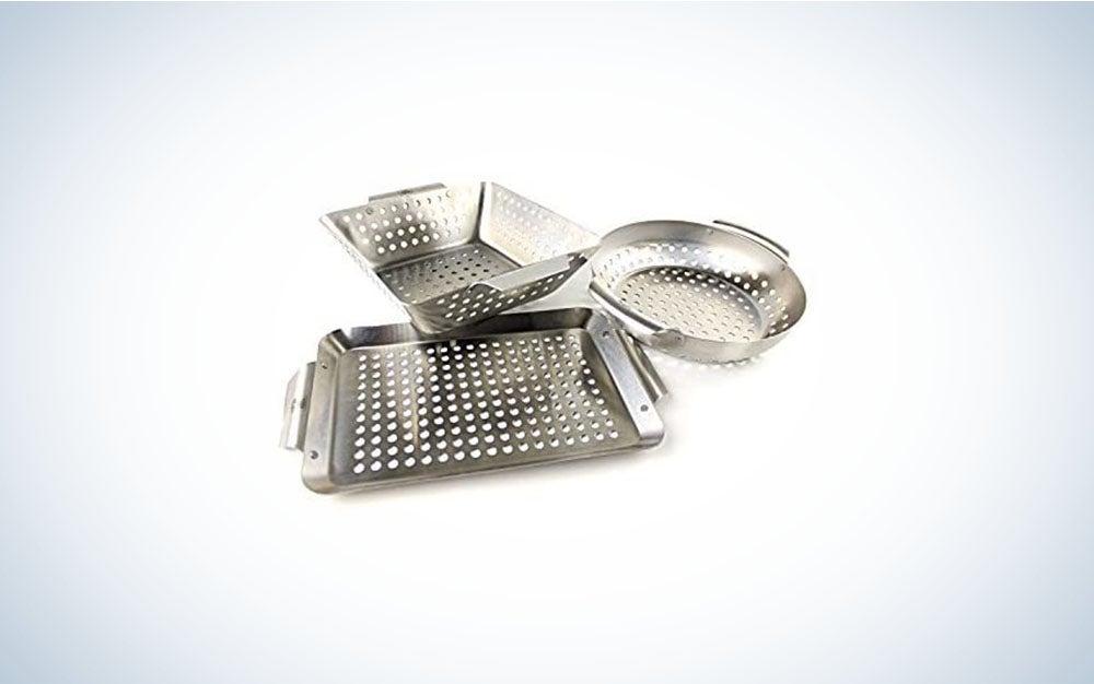 The Yukon Glory 3-Piece Mini BBQ grill accessories Basket Set is the best small grill basket set.