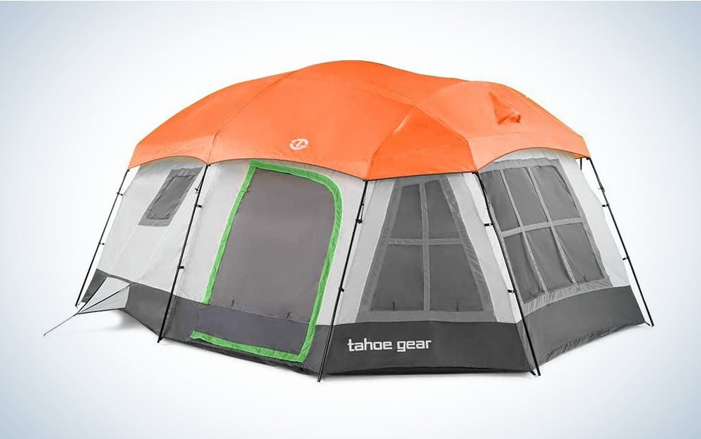 The Tahoe Gear Ozark Tent is the best tent for large groups.