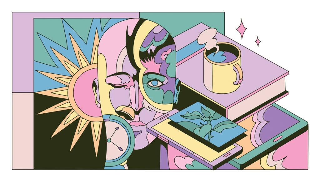 Coffee mug, sun, clock, book, smartphone, head