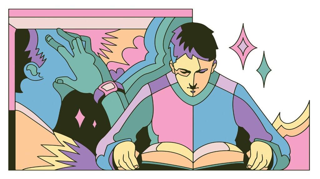Smartwatch, book, headache