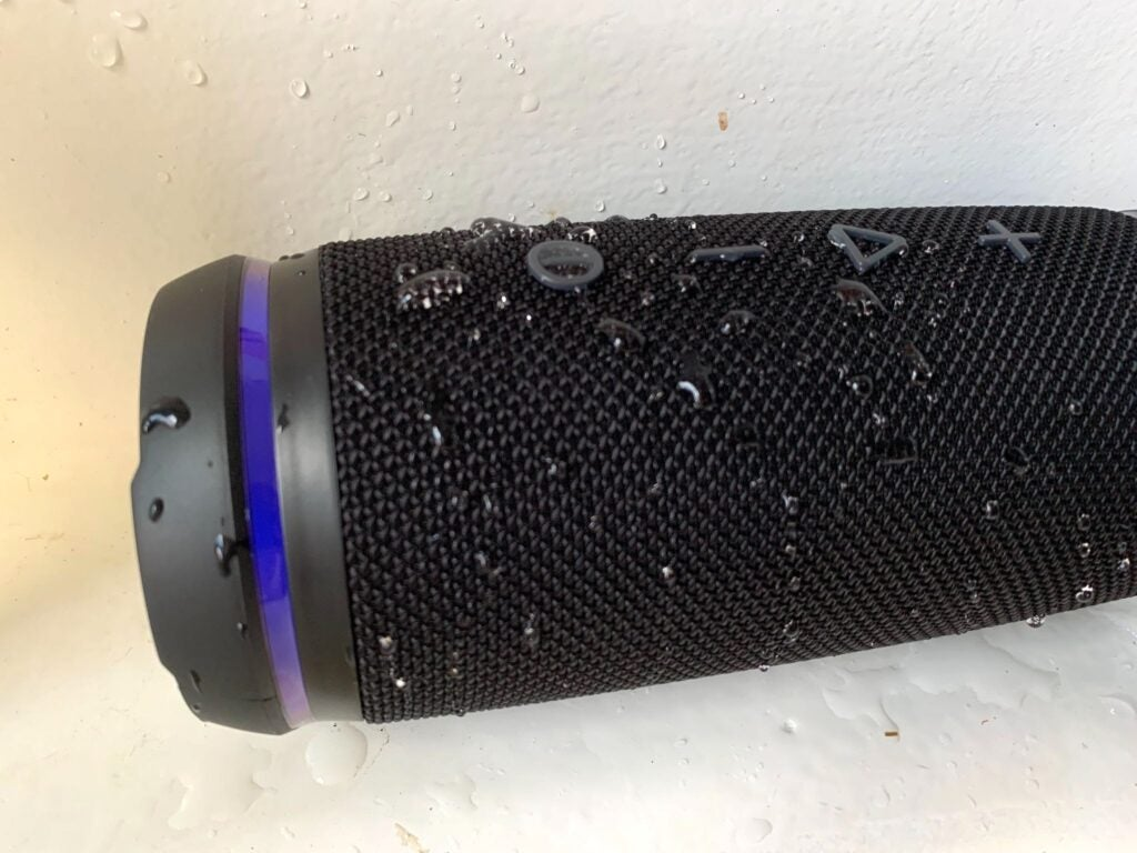 Treblab HD77 covered in water beads