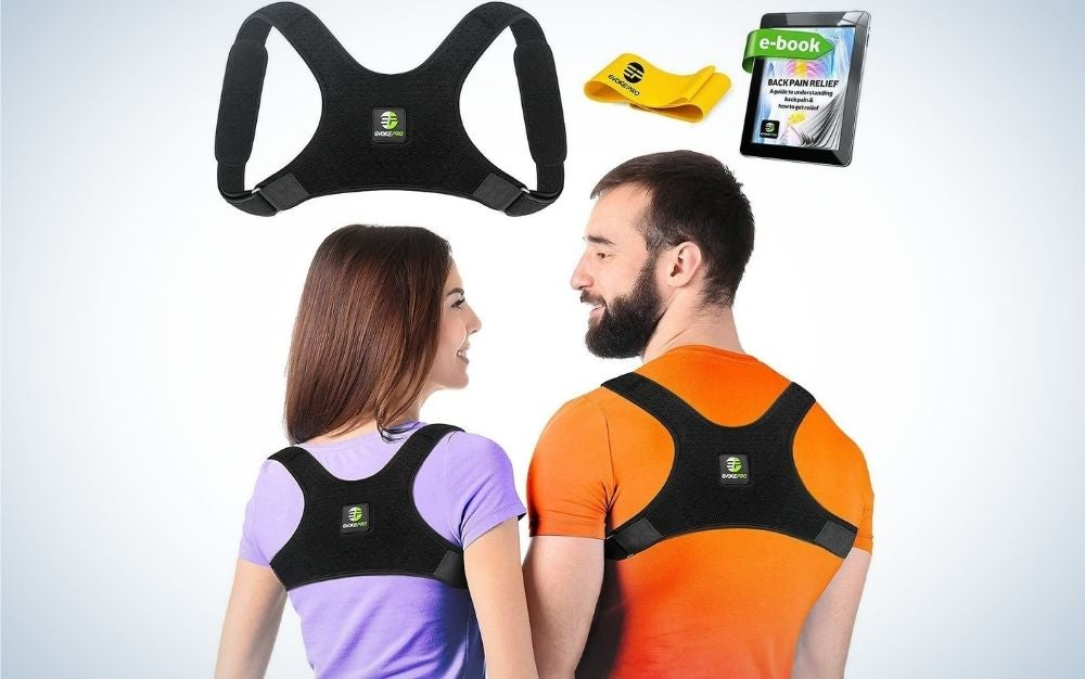 The Evoke Pro Back Posture Corrector is the best for rounded shoulders.
