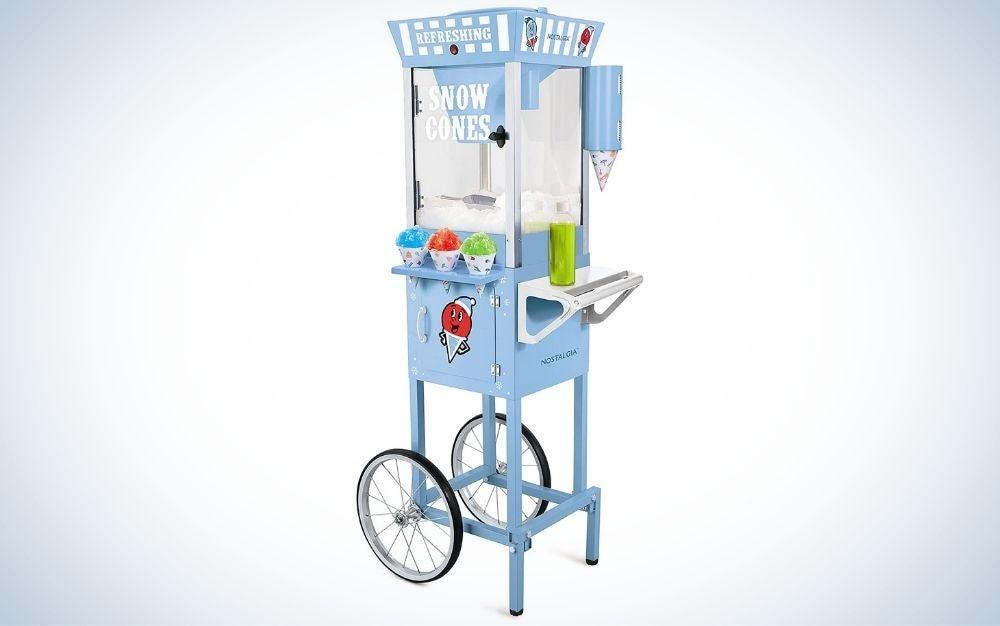 The Nostalgia Snow-Cone Cart is the best snow-cone machine.