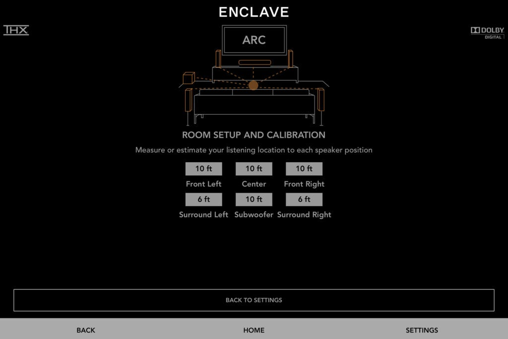 Enclave CineHome PRO control app screenshot