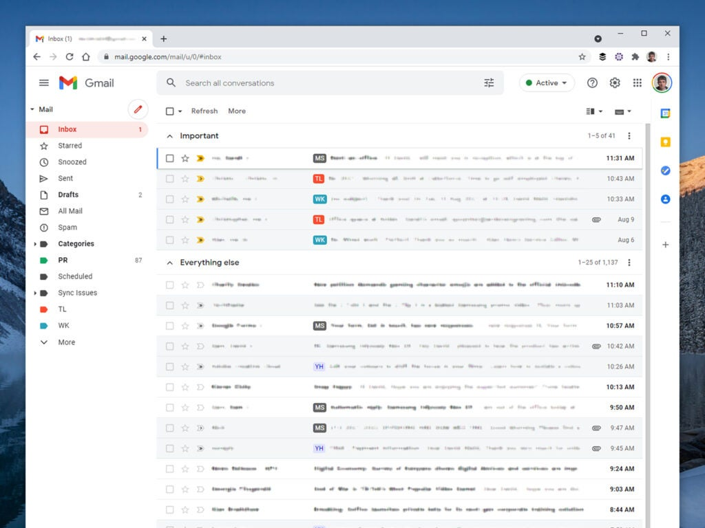 A Gmail inbox sorted with important emails first.