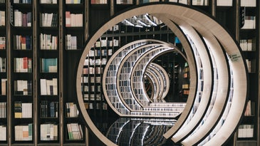 Library of books.