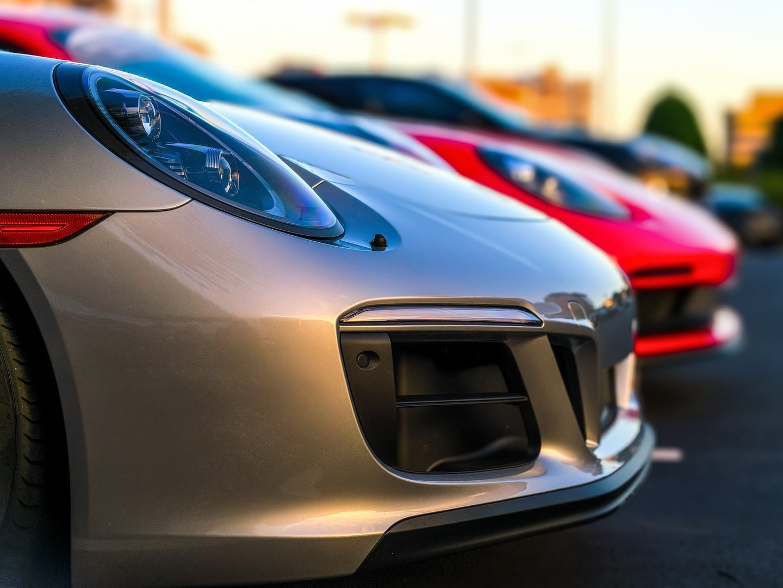 Porsches in rental car lot