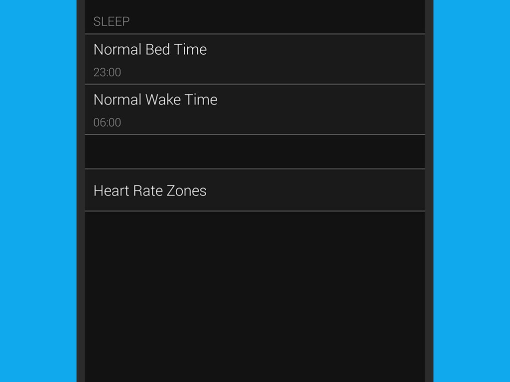 The options for bed time and wake time on a Garmin smartwatch.