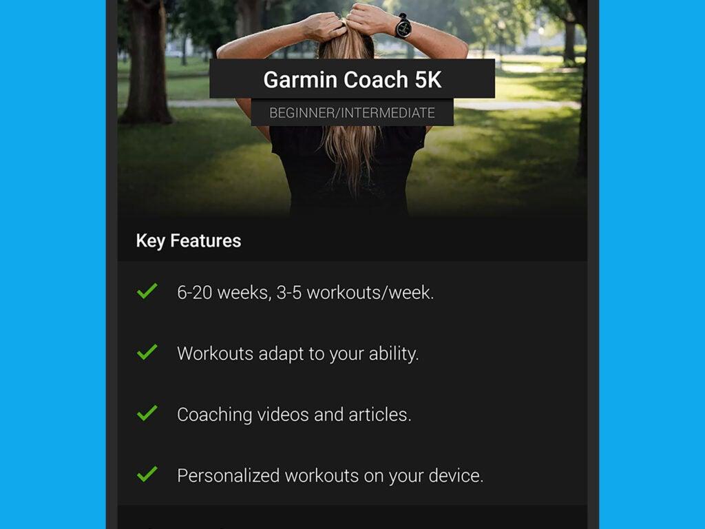 A Garmin smartwatch training plan for a 5K run.