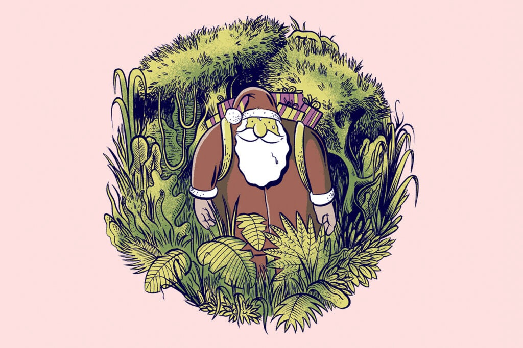 an illustration of santa claus standing in a tropical forest