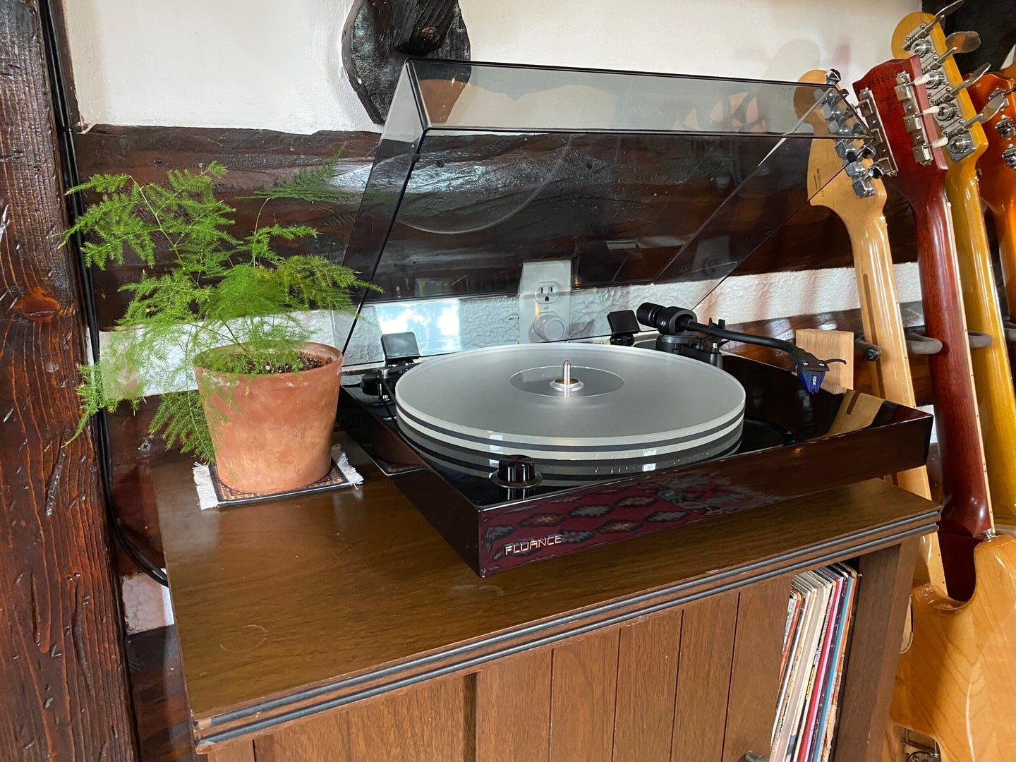 Fluance RT85 turntable on a stand