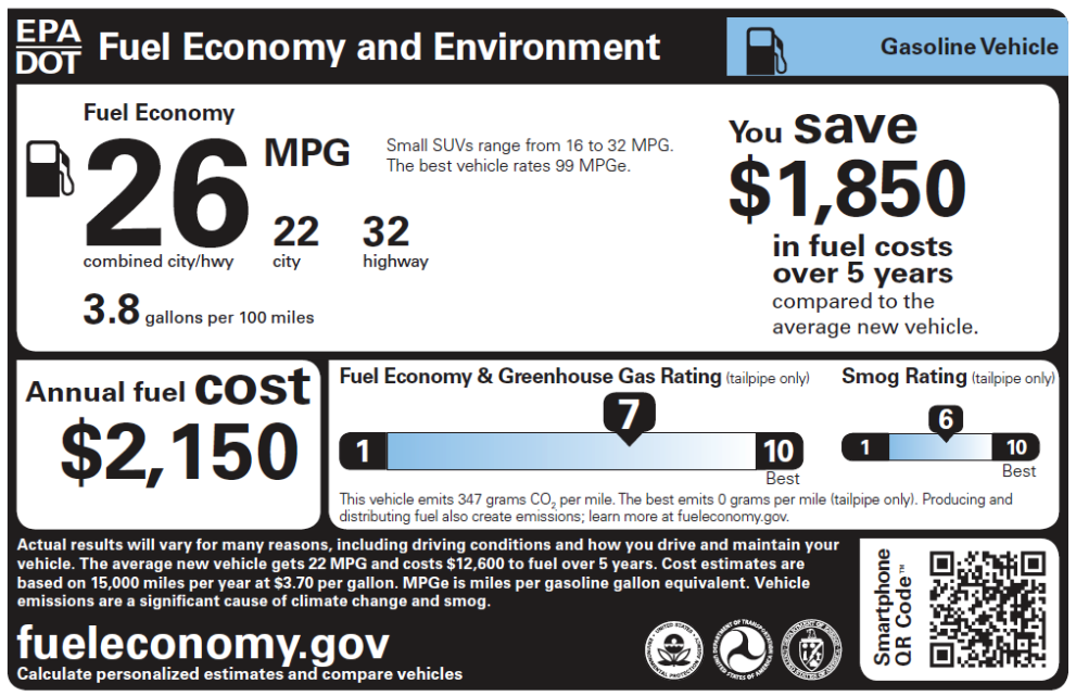 a fuel efficiency sticker