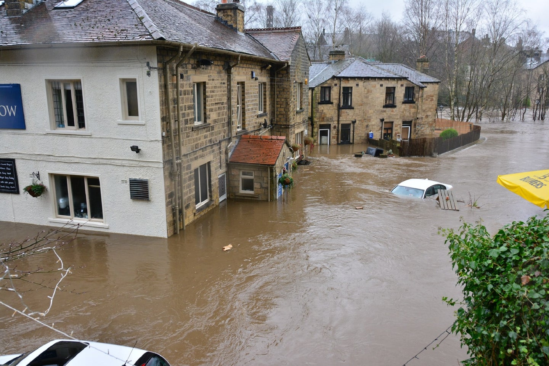 Winter flood in Bingley, England