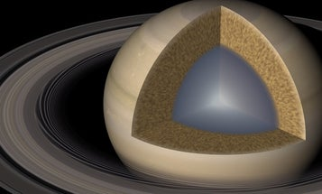 Saturn has a slushy core and rings that wiggle