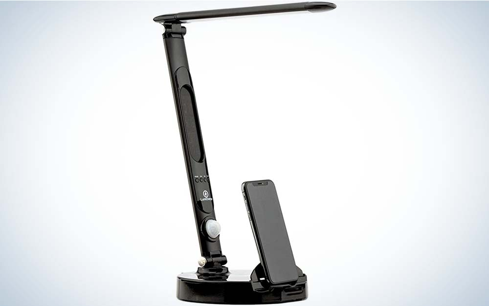 The Lumicharge LED Smart Adjustable Desk Lamp is the best for small spaces.