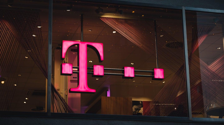 T-Mobile's lit up signage.
