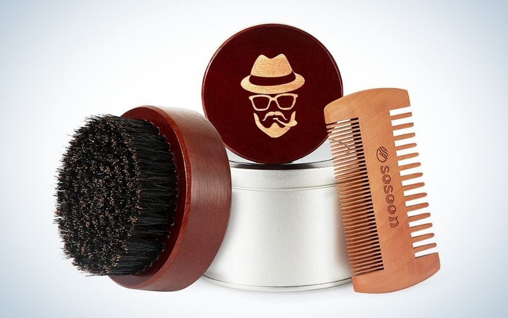 The Sosoon Boar-Bristle Comb and Brush is the best beard product for quick grooming.