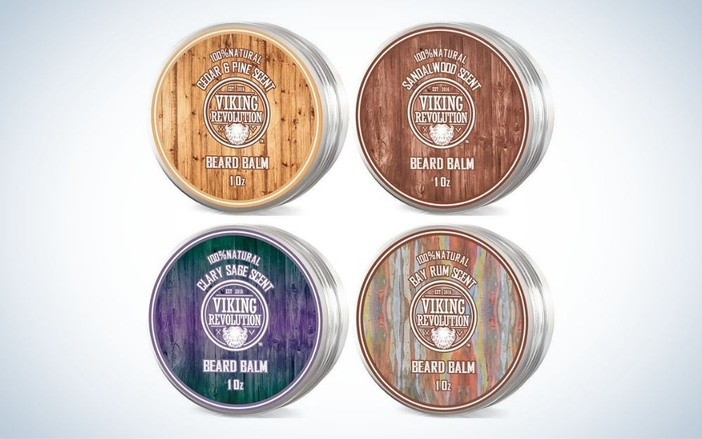 The Viking Revolution 4 Beard Balm Variety Pack is the best beard product for stylists.