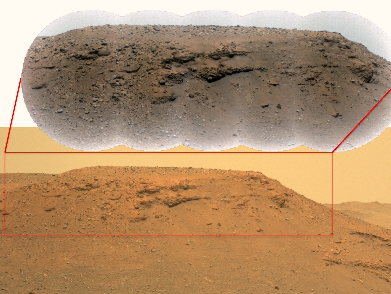 A grayish orange plain of rocky terrain on Mars.