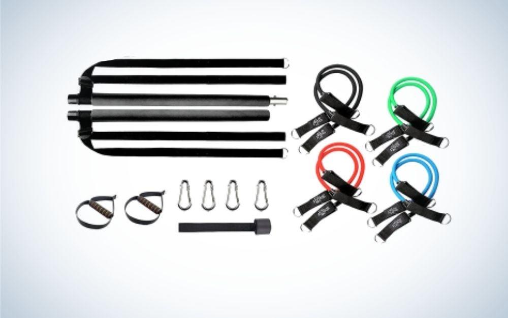 The AMFRA Pilates Bar Kit is the best resistance band bar kit.