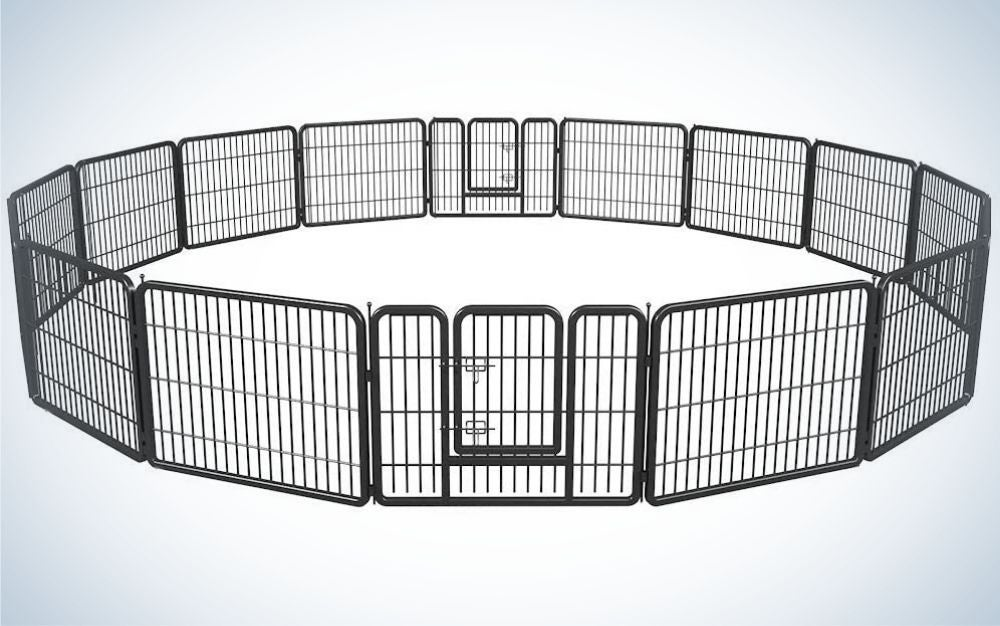The BestPet Playpen Exercise Pen is the best dog pen for large dogs.