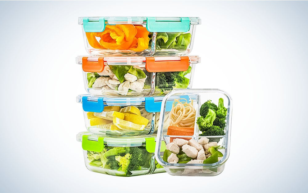 The C Crest 5 Pack Glass Meal-Prep Containers are the best food containers for meal prepping.