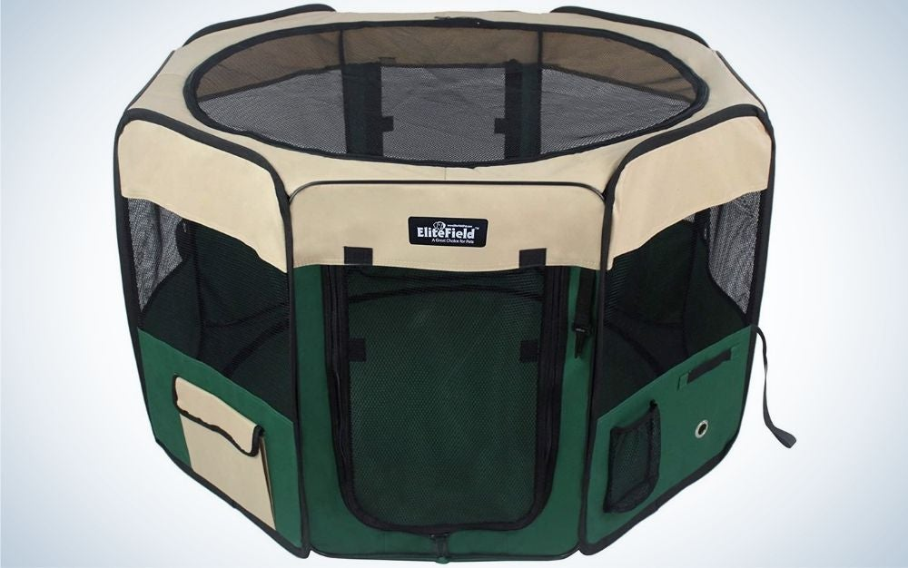 The EliteField Soft Pet Playpen is the best dog pen for traveling.