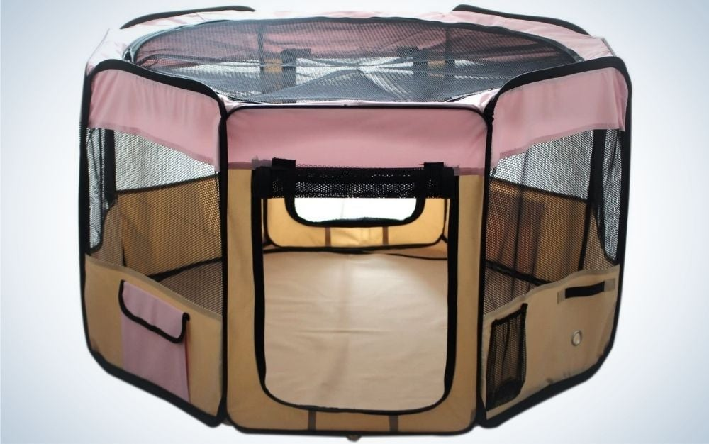 The ESK Collection Puppy Dog Playpen is the best dog pen for small dogs and puppies.