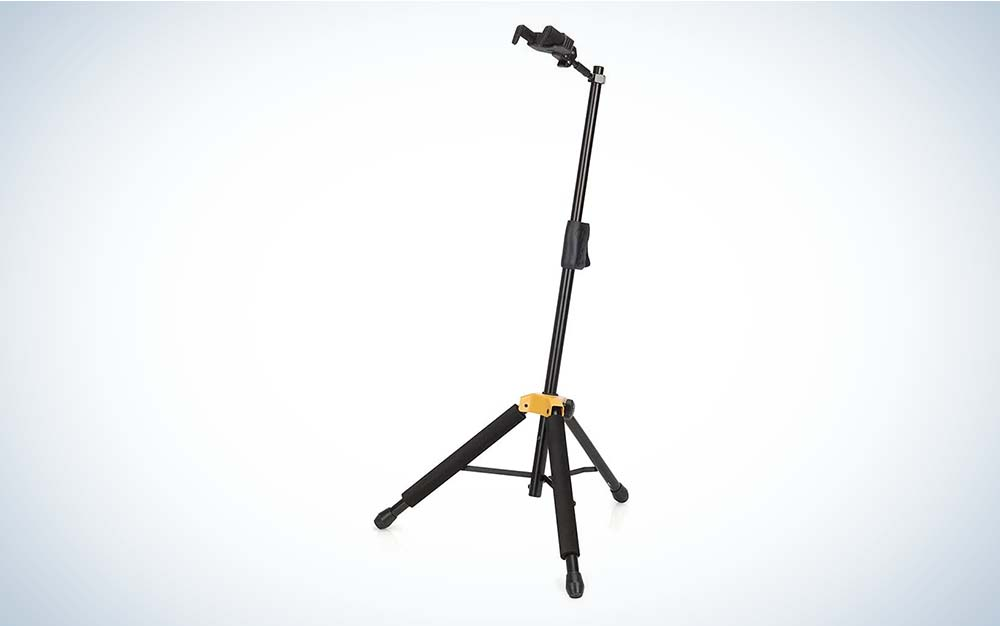 Hercules Auto Grip Guitar Stand is the best guitar stand for bass guitars.