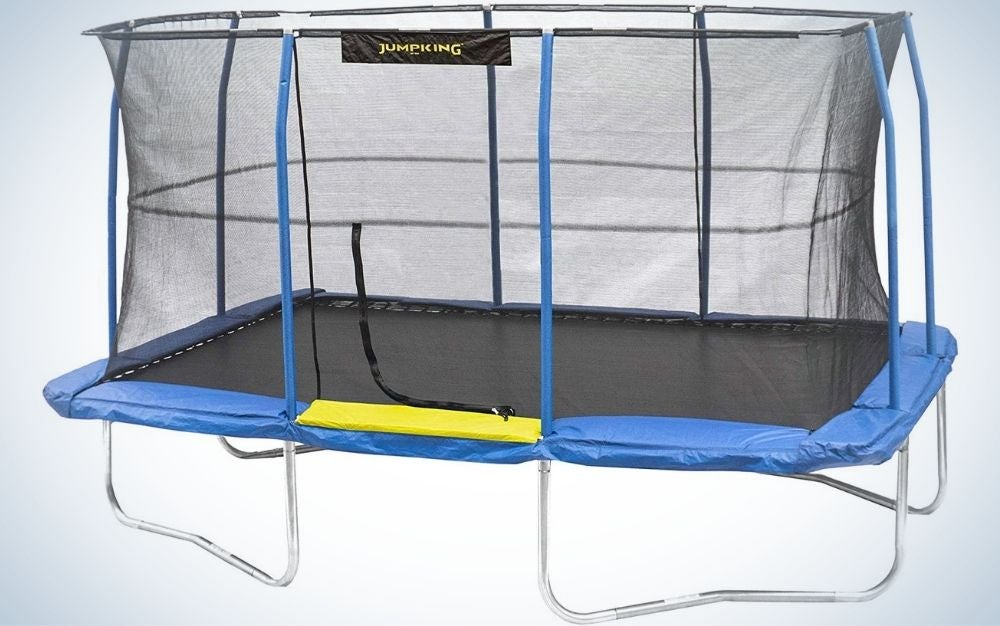 The JumpKing Enclosed Rectangular Trampoline is the best rectangle trampoline.