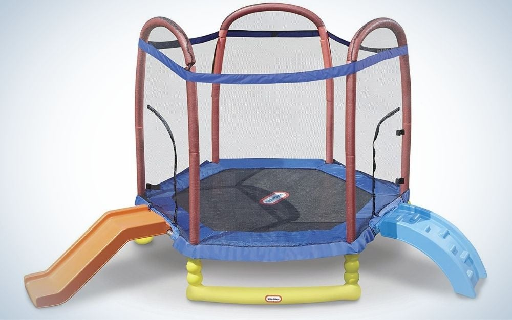 The Little Tikes Climb 'N Slide Trampoline is the best for kids.