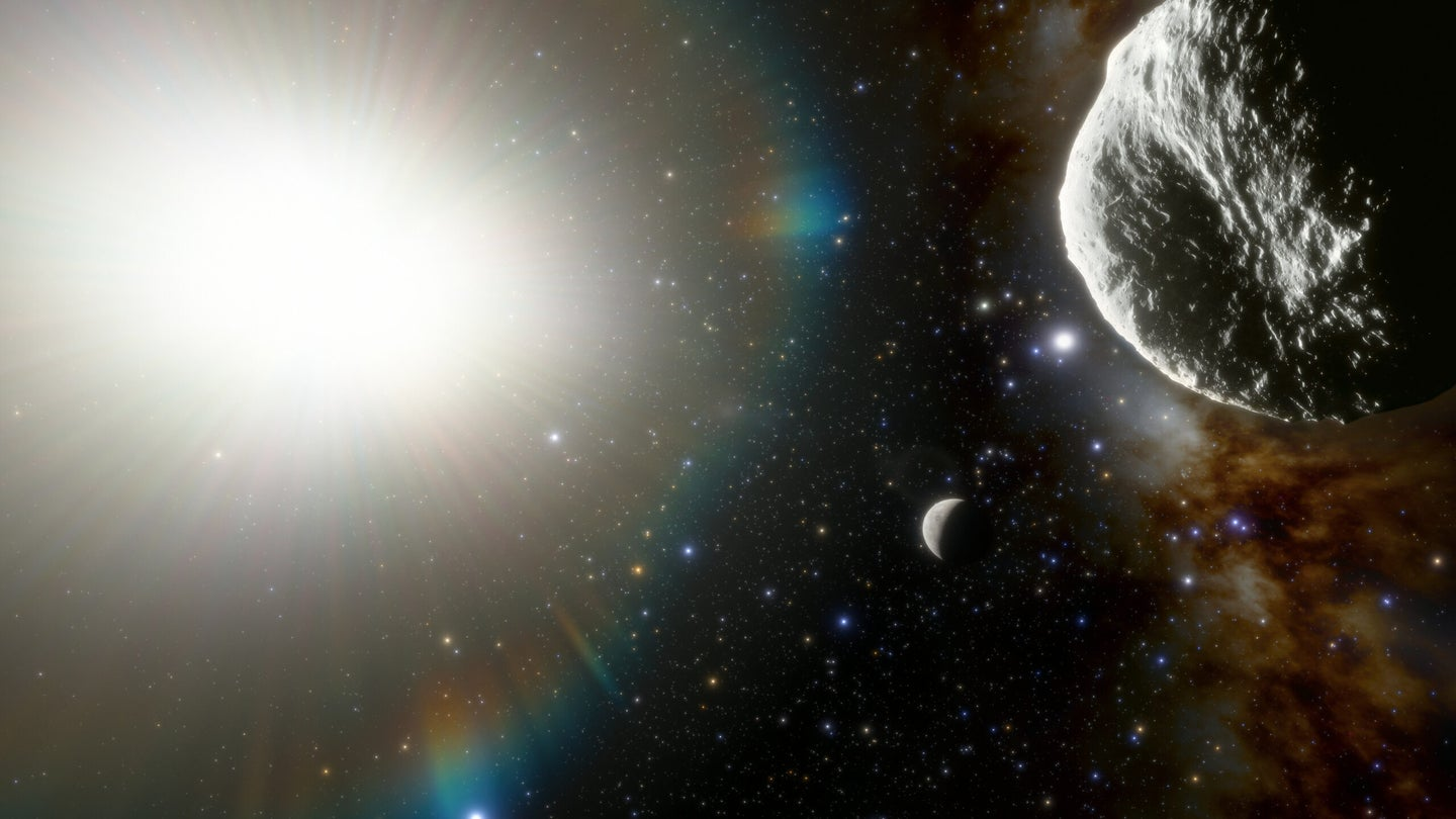 An illustration of an asteroid, at right foreground, passing through Mercury's orbit, seen in the middle background, with the glare from the sun shining brightly on the left.