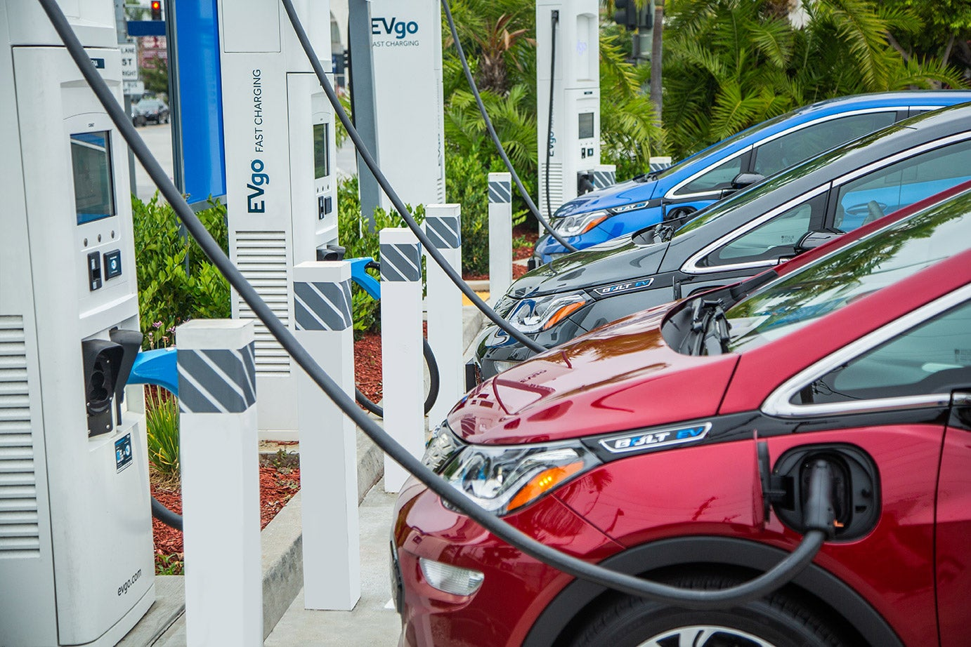electric vehicles plugged in