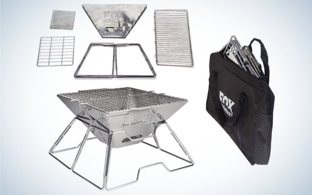 The Fox Outfitters Folding Charcoal Grill is the best portable grill for beach bums.
