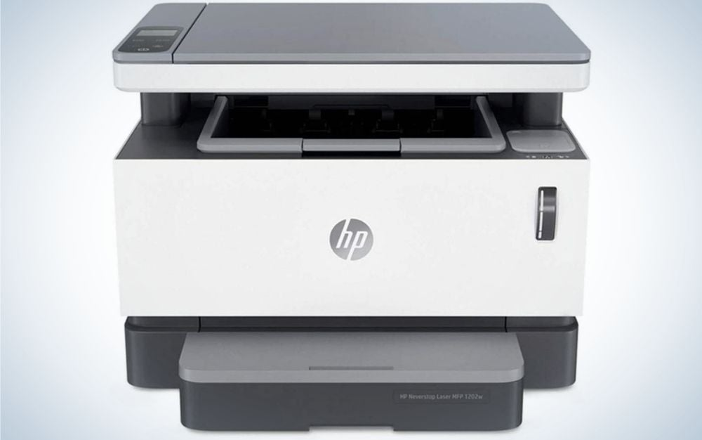 HP Nevertop 1202w Wireless Mono Laser Printer is the best copy machine with cloud printing.