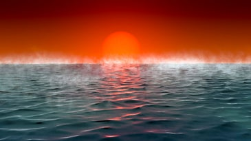 An illustration of a dramatic sunrise on a
