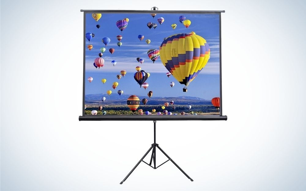 The Vivo 84-Inch Portable Projector Screen is the best projector screen for thrifty viewers.