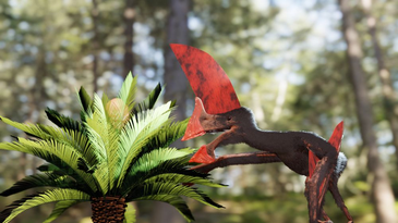 A bird-like brown dinosaur with a huge red crest on its head, in a jungle.