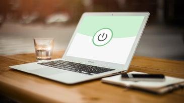 VPN on a laptop stock art