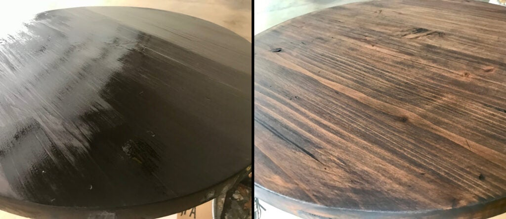 On the left, Kona wood stain just after application. On the left, the same stain after it has set and lightened.