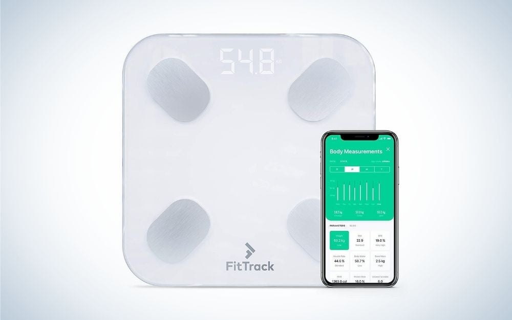 The FitTrach Dara Smart BMI Digital Scale is the best mobile-integrated bathroom scale.