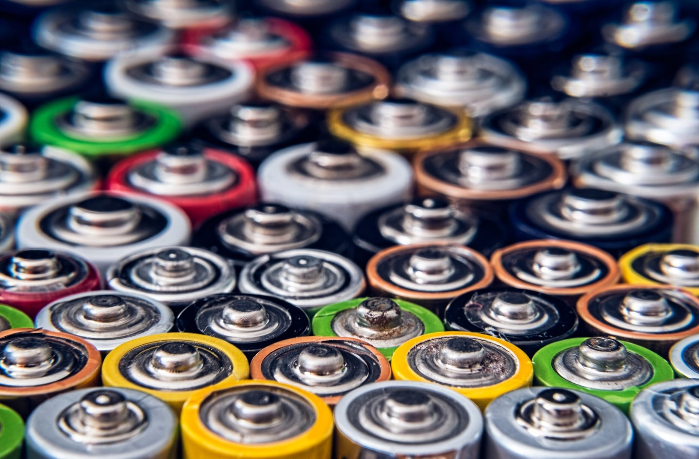 Drained disposable batteries of various size