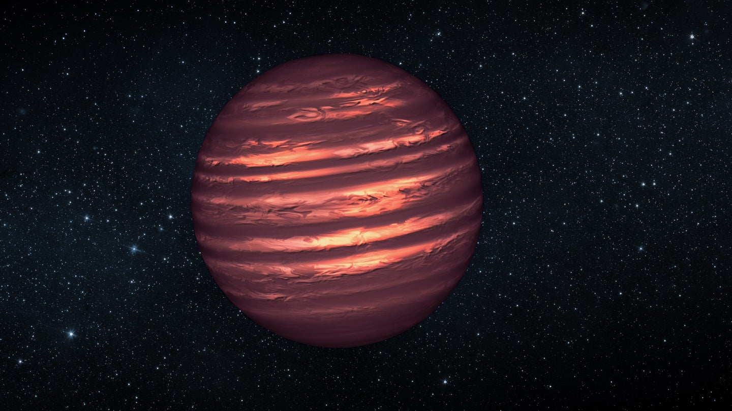 An illustration of a brown dwarf, a celestial body that is not quite planet, not quite star.