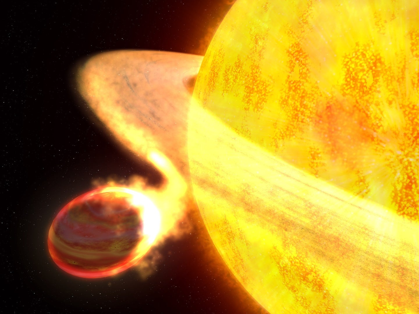 An illustration of a star slowly consuming a planet. The star's gravity has warped the planet into a football-like shape.