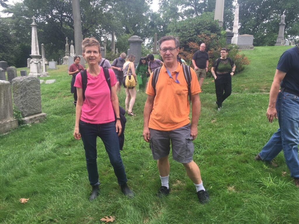 Mushroom hunters and amateur mycologists in Green-Wood Cemetery