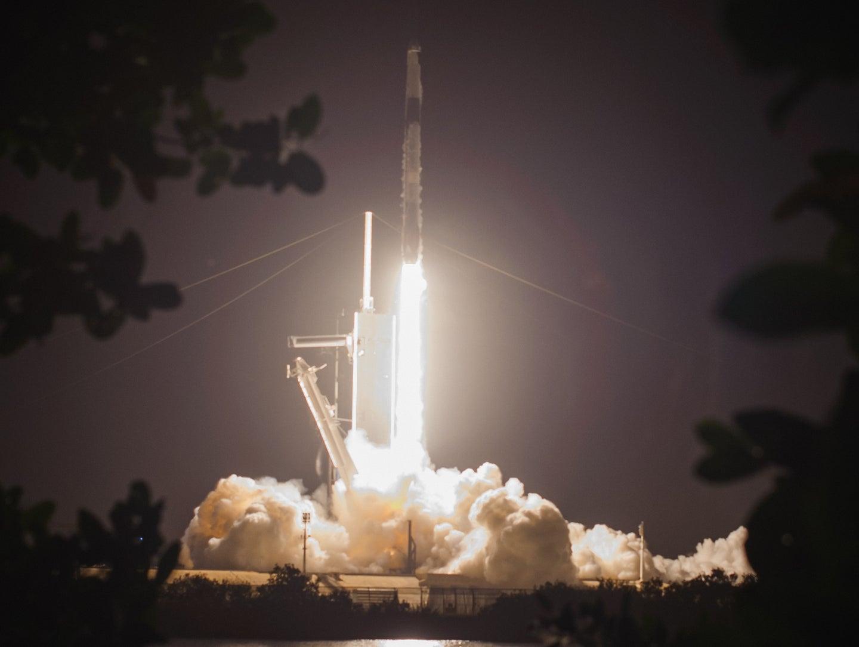 a rocket takes off