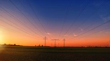 transmission lines at sunset