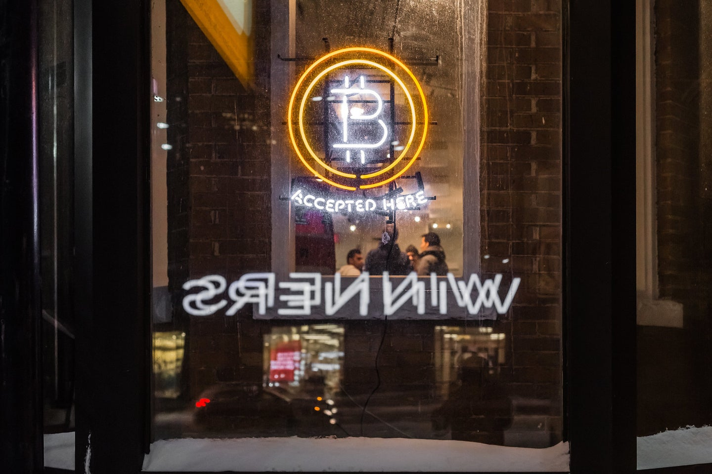 Bitcoin accepted sign.