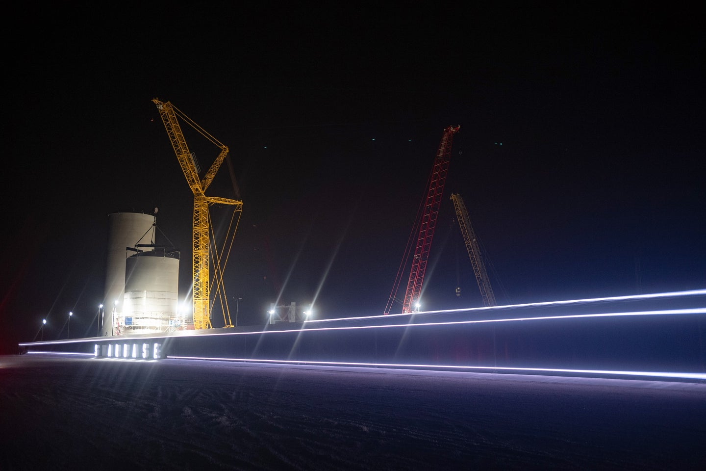 SpaceX flight center in Boca Chica, Texas, at night